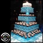 Giant DIY Teal Cupcake Stand