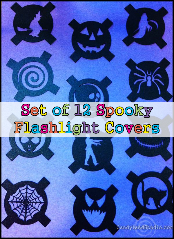 Set of 12 Spooky Flashlight Covers