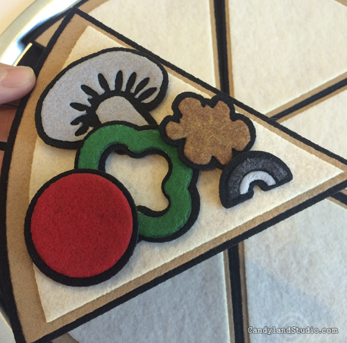 Felt Pizza Slice with Felt Toppings