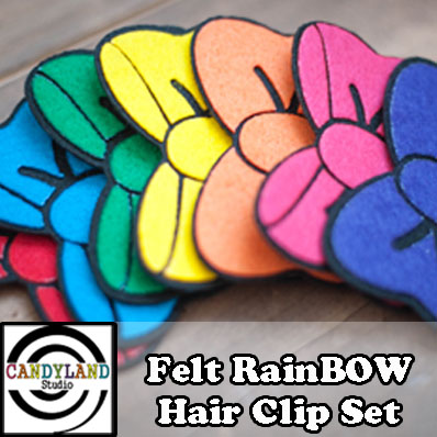Felt Rainbow Hair Clip Set by Candyland Studio