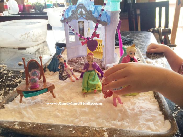 Frozen Figurines in Fake Snow