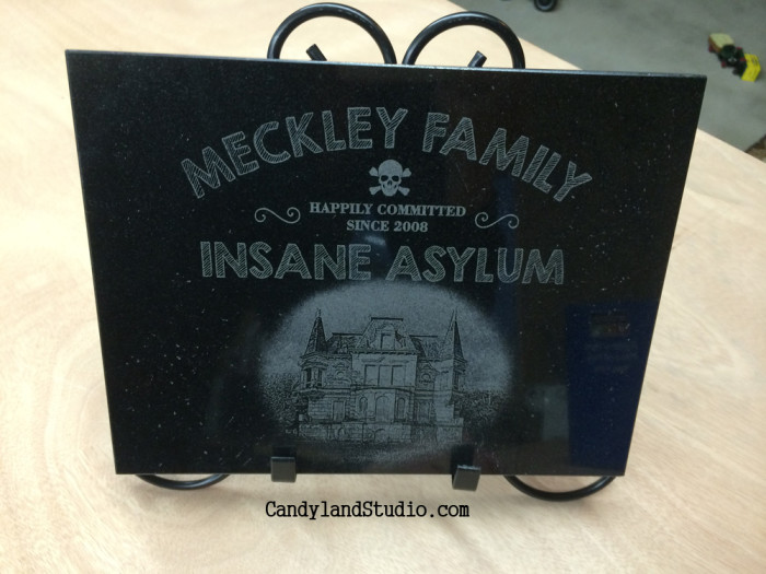 Meckley Family Insane Asylum Laser Engraved Granite Plaque