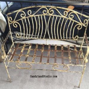 Vintage Yellow Wrought Iron Bench