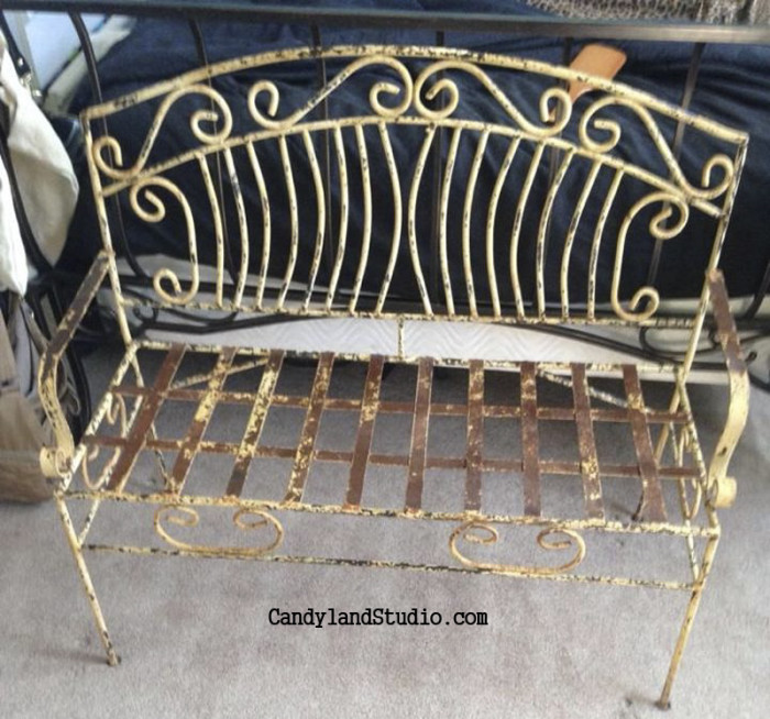 Vintage Yellow Wrought Iron Bench