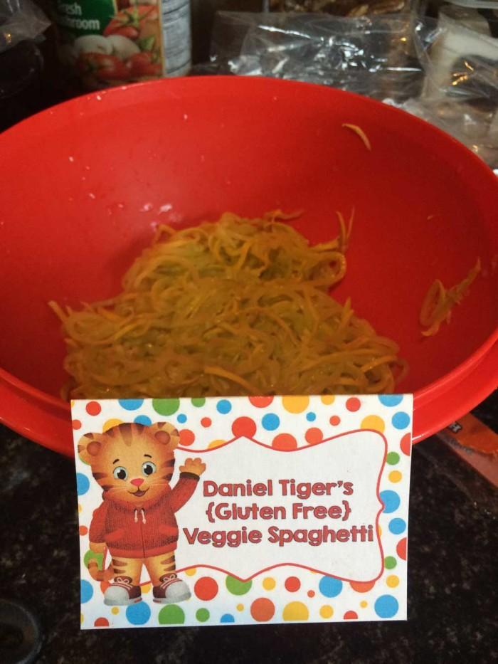 Daniel Tiger's Gluten Free Veggie Spaghetti