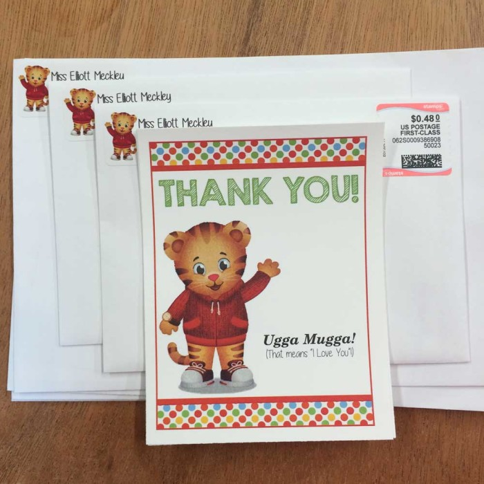 Daniel Tiger Thank You Notes